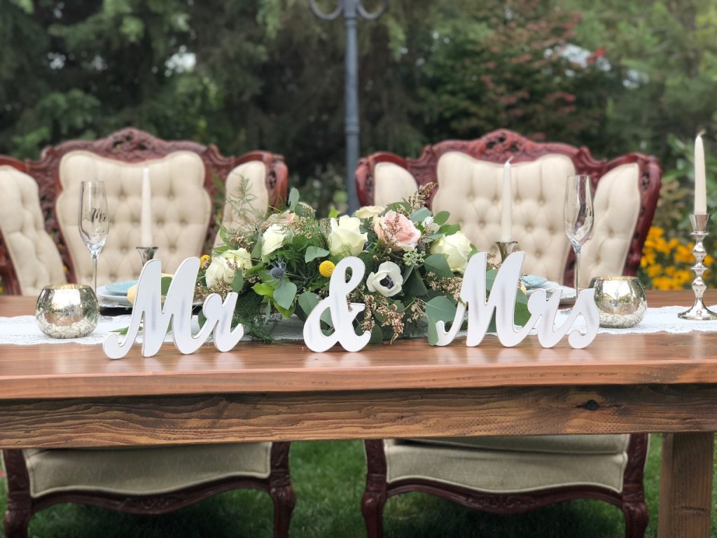 Outdoor Wedding Catering Bride and Groom Table